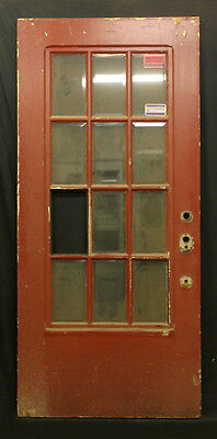 "36""x79"" Vintage Walnut French Exterior Entry Door Beveled Glass Lite Window Pane"