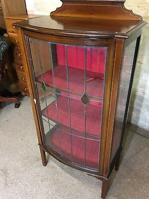 Antique Edwardian Mahogany Inlaid Bow Fronted Display Cabinet