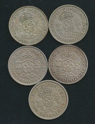 Lot of 5 UK Great Britain 2/- Two Shilling Coins 1943 1944 1947 1948 1951