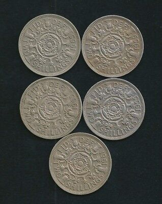Lot of 5 UK Great Britain 2/- Two Shilling Coins 1955 1959 1961 1963 1965