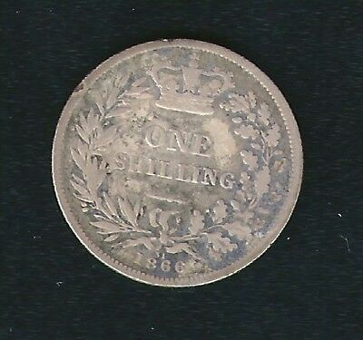 1866 UK Great Britain 1/- One Shilling Coin Nice Condition and Detail