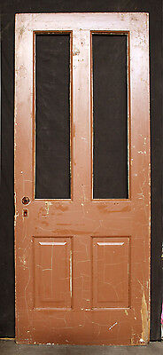 "32""x79"" Antique Vintage Victorian Wood Wooden Side Back Entry Door Window Panel"