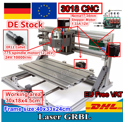 【In DE】 3 Axis 3018 Mini CNC Laser Milling Machine Engraving Router +ER11 Collet