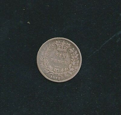 1872 UK Great Britain 6d Six Pence Coin Nice Condition and Detail