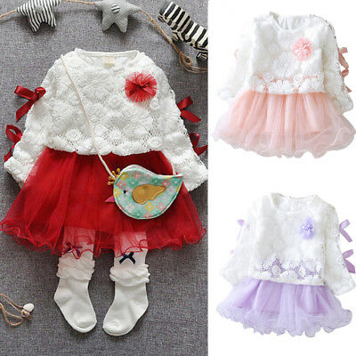 Cute Infant Baby Kids Girls Party Lace Dress Tutu Princess Skirt Clothes Outfits