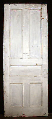 "32""x81"" Antique Vintage Victorian Solid Wood Wooden Interior Door 5 Flat Panels"