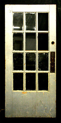 "37""x79"" Antique French Solid Wood Exterior Entry Door Beveled Glass Lite Windows"