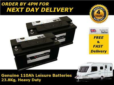 2x 12V 110AH @ C20 Leisure Battery DEEP CYCLE for Motorhome Caravan Campervan
