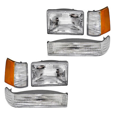 Headlights for 93-96 Jeep Grand Cherokee 6 Pc Park Signal Lamp & Side Marker Kit
