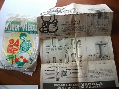 Collectible Vintage Fowlers Vacola Kleer  View Preserve Covers and leaflet