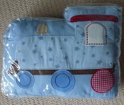 NIP Baby Boys Embroidered Come Drive With Me Train Decorative Nursery Pillow