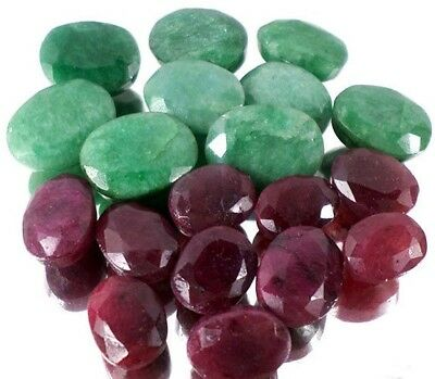 150 Ct+ Natural Exclusive Emerald and Ruby Faceted Gems Lot For Jewelry Making