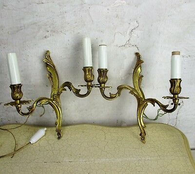 Pair Couple Vintage Ornate  Brass Bronze Two-Arm Double Wall Sconces Sleeves