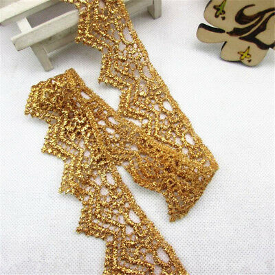 1/2/5Yard Embroidery Gold Lace Edge Trim Ribbon DIY Sewing Exquisite Accessories