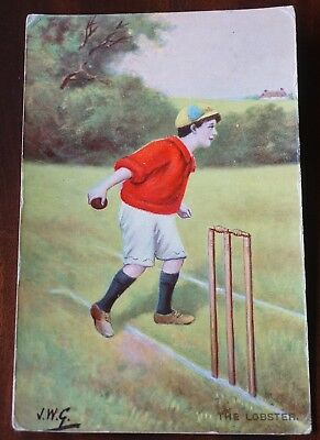 Cricket player, Philco series card, by J.W.G., written & posted 1909 The Lobster