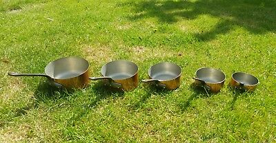 Vintage French made tin lined copper sauce saucepans set of 5. Cast iron handles