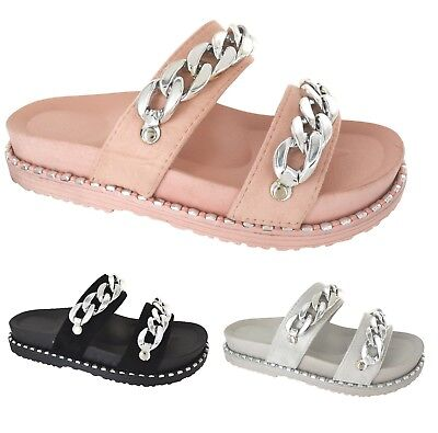 Mujer SUMMER STUDDED FLATFORM SLIDERS LADIES LADIES SLIDERS CHAIN BEACH HOLIDAY SANDALS Zapatos ee55a2