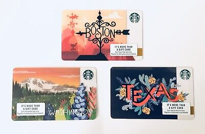 2018 Starbucks Card Set US Boston Texas Washington City State New