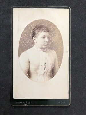 Rare Indian Victorian Carte De Visite CDV Rust Elegant Lady Tight Corset