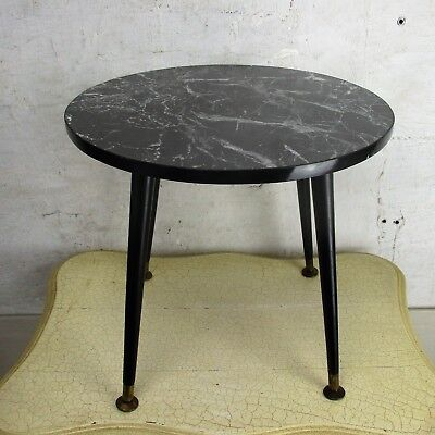 Vintage Small Side Table Plant stand  Legs Round Marble Style Top Lovely