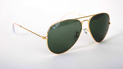 Ray-Ban Aviator Large RB3025 L0205 58 Gold Green Sonnenbrille Inkl.Brillen- Etui
