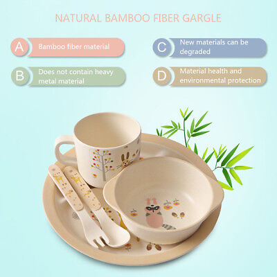 5pcs/Set Bamboo Fiber Babies Divided Plate Kids Toddler Dinner Feeding Tableware