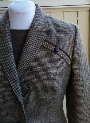 Vintage Retro 50s 60s Wool Tweed Suit Leather Trim very Jackie Size 12