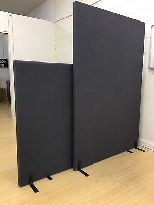 Free standing office partition - dark grey fabric - 180cm x 120cm