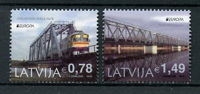 Latvia 2018 MNH Bridges Europa Railway Bridge Trains Rail 2v Set Stamps