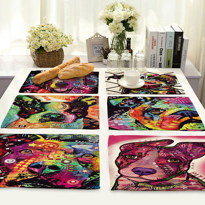 Color Printing Dog Cotton Linen Insulation Placemat Dining Coffee Table Mat Home