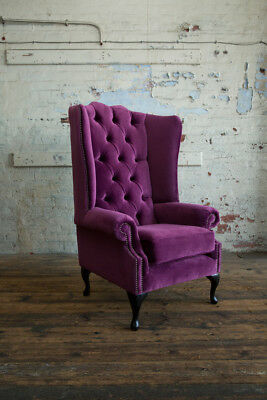 Modern Queen Anne Purple Velvet Chesterfield Wing Armchair, Extra High Back