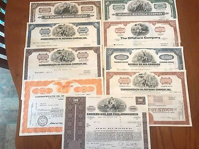 Wholesale lot of 9 Different Oil  & Gas Stock Certificates