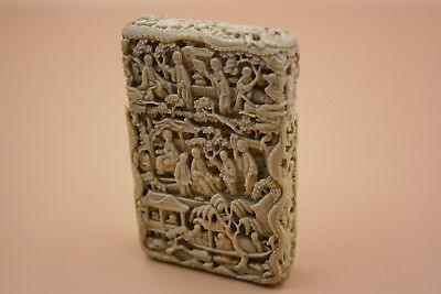 Antique Chinese Bovine Bone Carved Details Figures Dragon Scenes Card Case