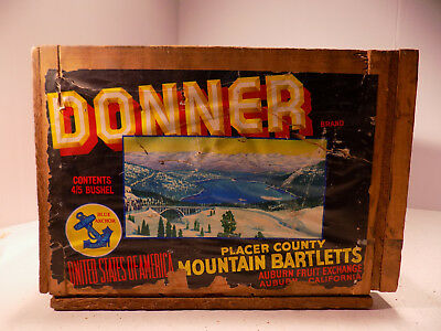 """Vintage Wood Shipping Crate DONNER MOUNTAIN PEARS 19 1/2"""""""" X 13"""" X 9 1/4"""""""