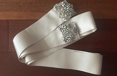 Monique Lhuillier Satin Sash Belt Wedding Bridal in Ivory with Beading