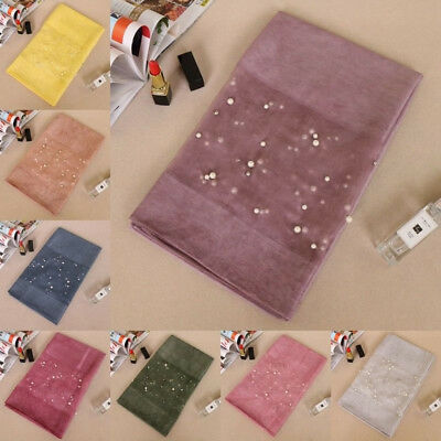 Women Pearls Hijab Solid Color Wrap New Vintage Scarf Plain Shawl Long Wide Lot