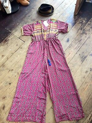 Gypsy Jumpsuit Silky Indian Boho Bohemian Vintage 10 12 14 Indian 16 Flares