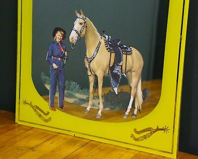 1950's Roy Rogers Dale Evans Horse ADVERTISING MIRROR Sign RARE Western Cowboy
