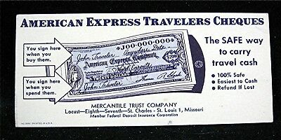 American Express Traveler Cheques Mercantile Trust Adv Ink Blotter St Louis Mo