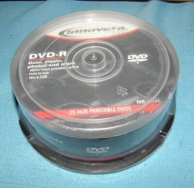 Case 25 Innovera® DVD-R Discs, Hub Printable, 4.7GB, 16x, Spindle, Matte