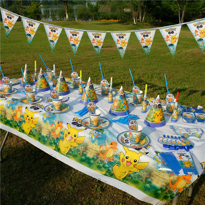 Pokemon Kids Birthday Party Supplies Favor Tableware Decoration Plates Napkins