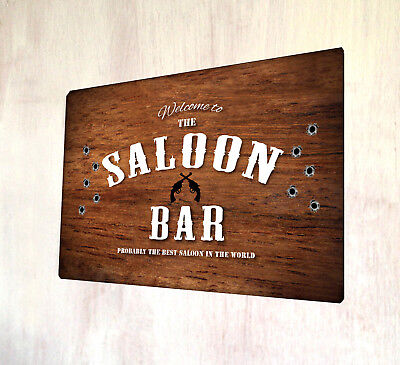 The Saloon Bar Cowboy Western style sign A4 metal sign plaque