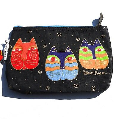 Laurel Burch Cosmetics Bag Pencil Kitty Cat Faces NWT New Black 6 x 9 Zippered