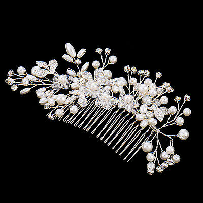Wedding Bridal Jewellery Rhinestone Crystal Flower Pearls Hair Comb Clip Silver