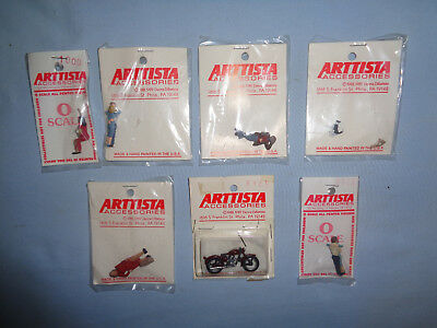 7 Arttista Pewter O Scale Figures/Motorcycle: #1171, 1000, 1115x2,