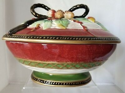 Fitz and Floyd Holiday Solstice Covered Vegetable or Serving Dish Bowl - Never U