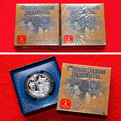 2002 CANADA 50th ANNIVERSARY QUEEN ACCESSION BU SILVER DOLLARS (2 COINS) SEALED