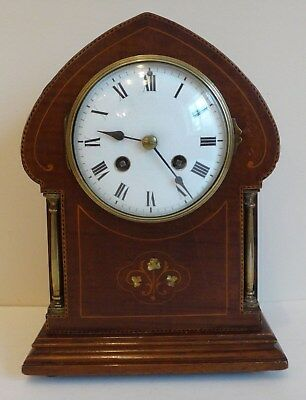 Edwardian Art Nouveau inlaid striking MANTLE CLOCK French Movement ticking order