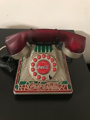 Coca-Cola Tiffany Stained Glass Light Up Telephone- Collectable!