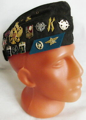 Russian Army Pilotka Garrison Cap Hat with Real USSR Badges, Dark Grey 59 L